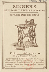Advert for the Singer Manufacturing Company, sewing machines, reverse side